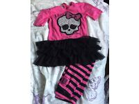 Monster High pink and black leggings and top outfit age 7-8