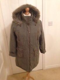 Ladies green parka coat size Large