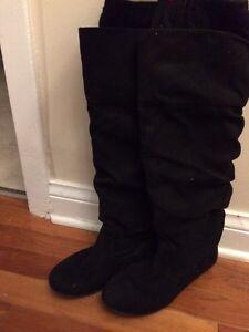 Aldo Black Suede Knee High Boots