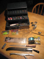 3 FISH RODS AND TACKLE
