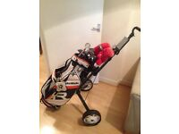 Full set of clubs and golf bag trolley and unberella