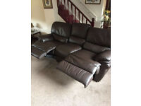 Brown Leather Recliner 3 piece suite £200
