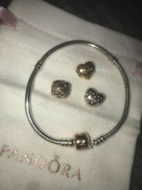Rose Gold Pandora Bracelet 17cm
