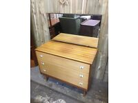 Retro Mid Century Teak Mirrored Dressing Table Drawers - FREE DELIVERY