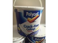 3 x Brand New Sealed Polycell Crack-Free Ceilings Smooth Silk Paint
