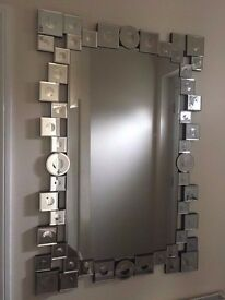 Beautiful Designer Modern Style Silver Rectangle Wall Mirror Extra Large Size 120cm x 80cm