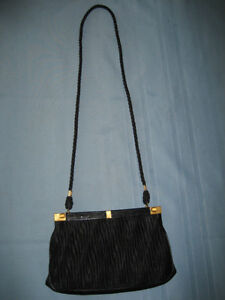Black Satin Ruched Evening Purse by Coret