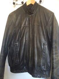 Leather Cafe racer/bomber jacket medium