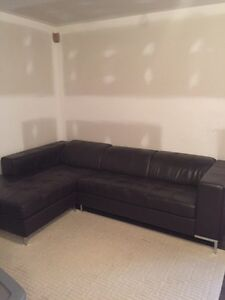 800$ Leather Brown LShape Couch with adjustable head rest