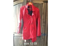 Stunning red mac coat used once polka dot lining size 12