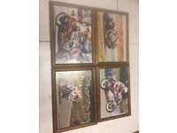 Framed motorcycle pictures man cave garage
