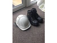 Safety boots Size 8 and Helmet