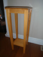 solid wood plant stand table, measures 1ft wide by 1ft long