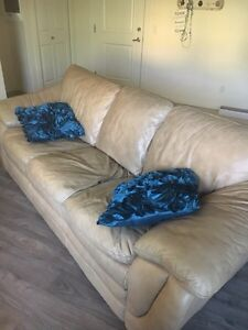 Tan Leather Couch and Ottoman