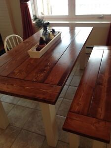Handcrafted Harvest table and bench.