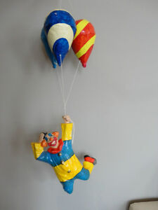 Authentic Mexican Made Paper Mache Clown Hanging From Balloons