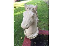 Horse head garden statue ornaments x2