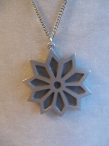 "GORGEOUS OLD VINTAGE PEWTER [Stamped] 23"" PENDANT NECKLACE"