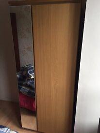 Solid wood mirrored wardrobe
