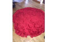 Red Shaggy Circular rug