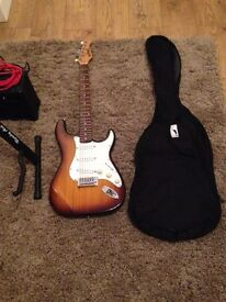 Bluerock Stratocaster guitar with Amp