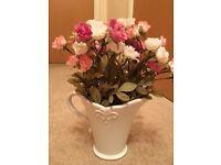 Vase with silk type flowers