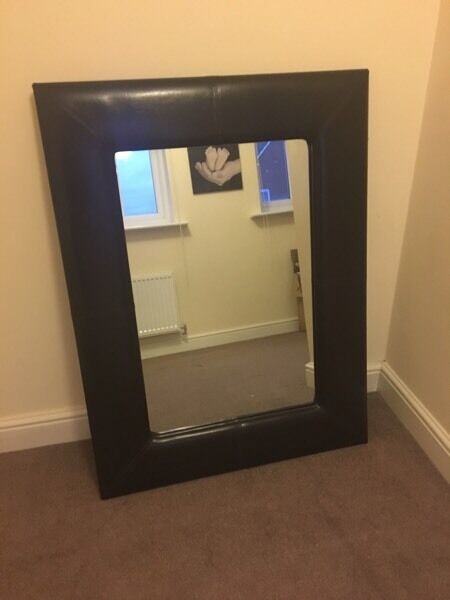 Brown faux leather large mirror