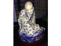 Chinese Blue and White Figure With Stand