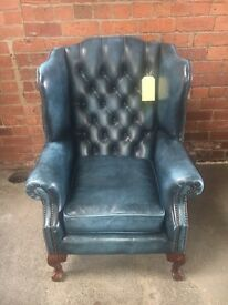 Blue Chesterfield Leather Wing Chair - UK Delivery