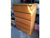 Ikea malm 6 drawer chest, oak veneer. Good condition.