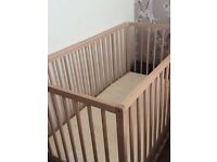 Stripped wood cot