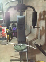 York Home Gym, York 9000 weight bench, weight stand and weights
