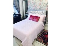 Crushed velvet chesterfield double bed + orthopaedic mattress