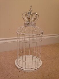 Distressed White Bird Cage Style Lantern Candle Holder with Crown Brand New