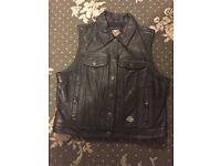 Harley Davidson ladies leather /fabric waistcoat