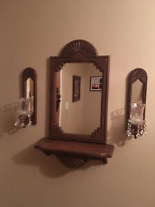 Shelf with mirror and 2 mirrored candle holders