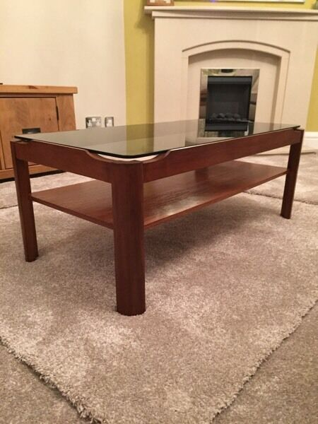 Lovely Myer Retro, Mid-Century table with lift-off smoked-glass top, exc cond