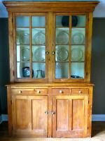 Antique pine stepback cupboard