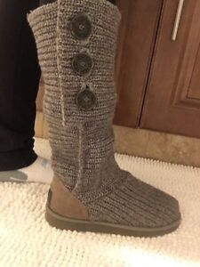 Grey Button Ugg Boots