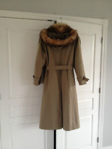 Mink lined winter trench coat