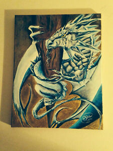 Acrylic Painting - Water Dragon - (reduced)