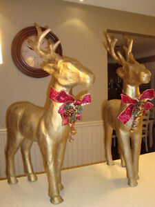 """Pair 37"""" Christmas Reindeer -Gold Paper Mache-The Pair for $70 Kitchener / Waterloo Kitchener Area image 8"""