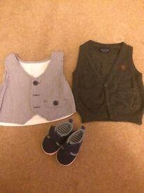 Boys 3-6 months smart waist coat occasion wear bundle shoes