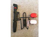 Bike accessories- pump, bottle holder, lights