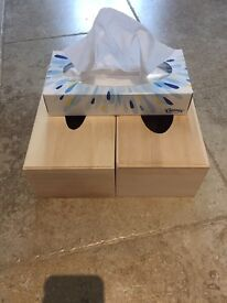 Two wooden tissue box holders for decoration