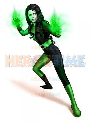Kim Possible Shego Costume Female Super Villain Costume Woman/Girls/Lady Cosplay - Adult Kim Possible Costume