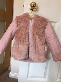 Beautiful pink fur coat with fluffy ears and tail, size 9-12 months