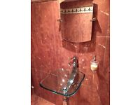 Glass washbasin and toilet, as new