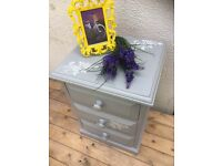 Shabby Chic Romantic French Country Solid Wood Bedside Table Cabinet Little Chest of drawers