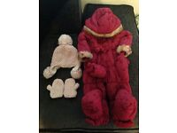 Girls snowsuit 12-18 months, hat and mittens set 1-2 years